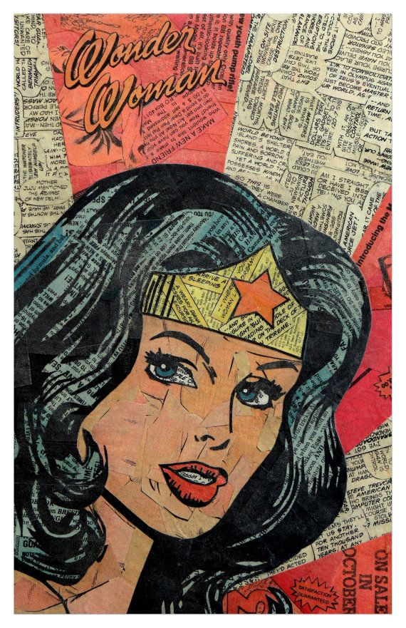 Comic Collage Art -- OOooooh. I want this in the Living Room... and Batgirl... and Black Bat...