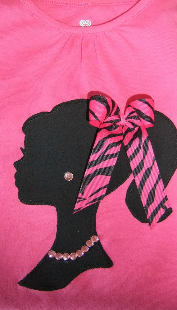 Embellished Vintage Barbie Applique Shirt with Bow and Rhinestone Necklace and Earring via Etsy