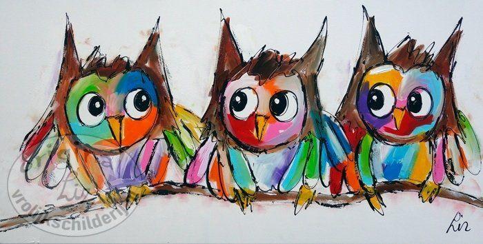 Vrolijk Schilderij Modern uilenschilderij
