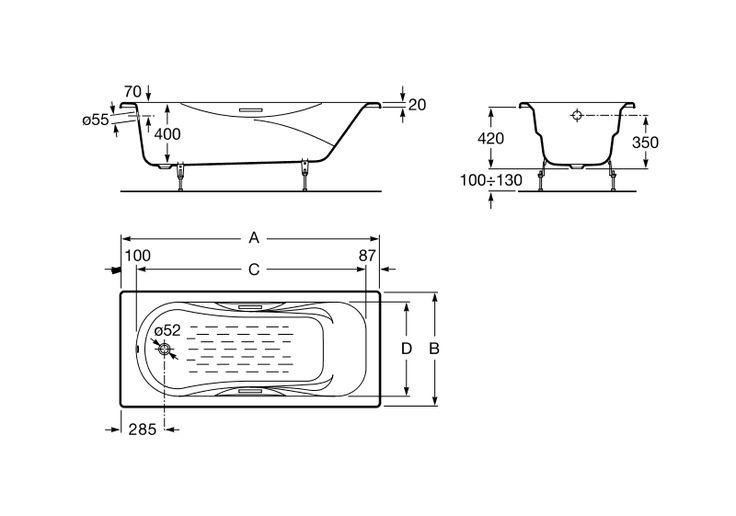 Bañera de fundición rectangular con fondo antideslizante y asas | Bañeras de hierro fundido | Sin hidromasaje | Bañeras rectangulares | Bañeras | Productos | Roca