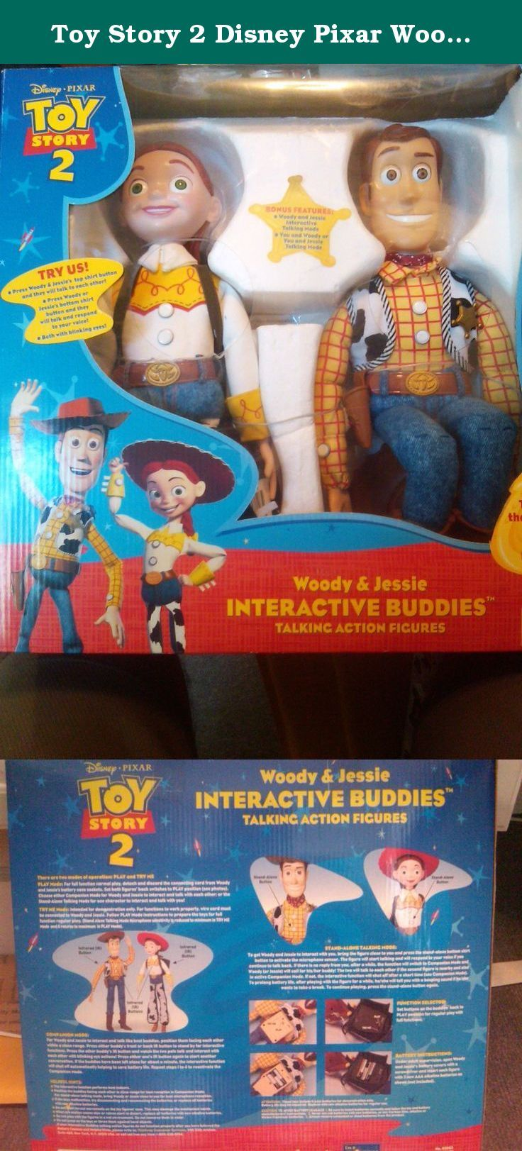 Toy Story 2 Disney Pixar Woody and Jessie Interactive Buddies. Talking Action Figures. Together they say over 100 phrases. Toy Story 2 Woodie & Jesse 18 inch standing interactive Figures.