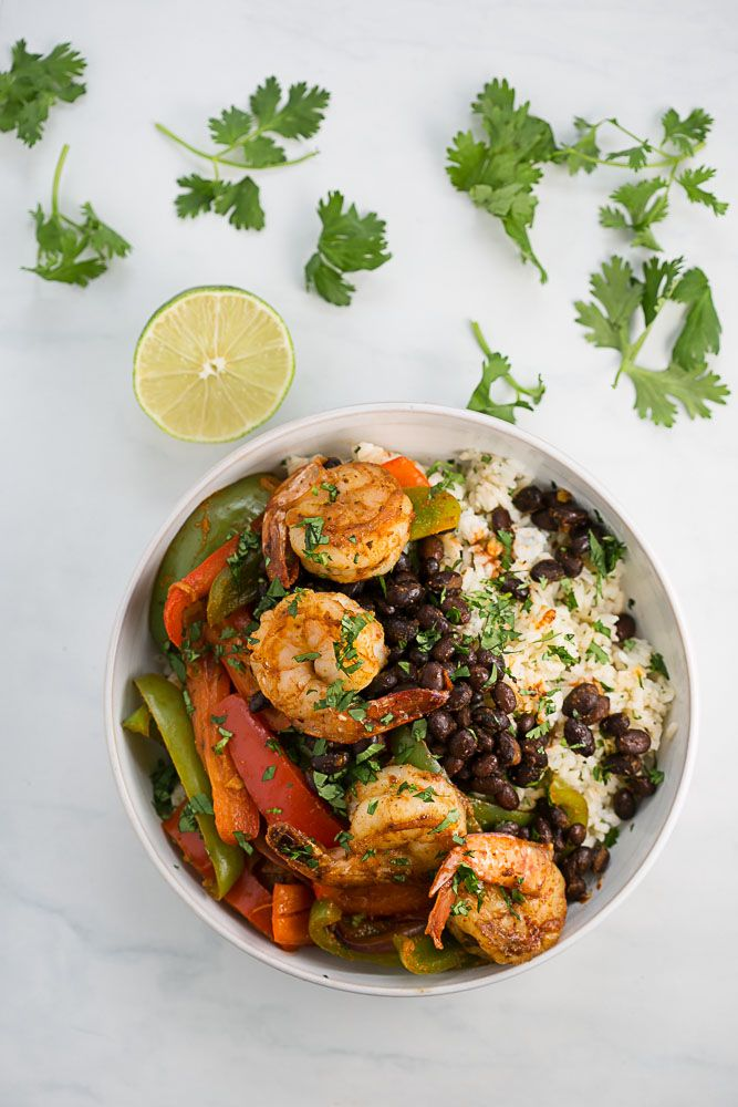 Shrimp with Black Beans and Lime Cilantro Rice