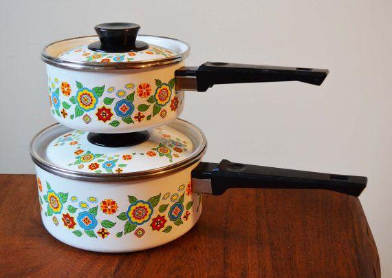 Enamel Cookware Pots Set of 2 Black Bakelite by Trashtiques
