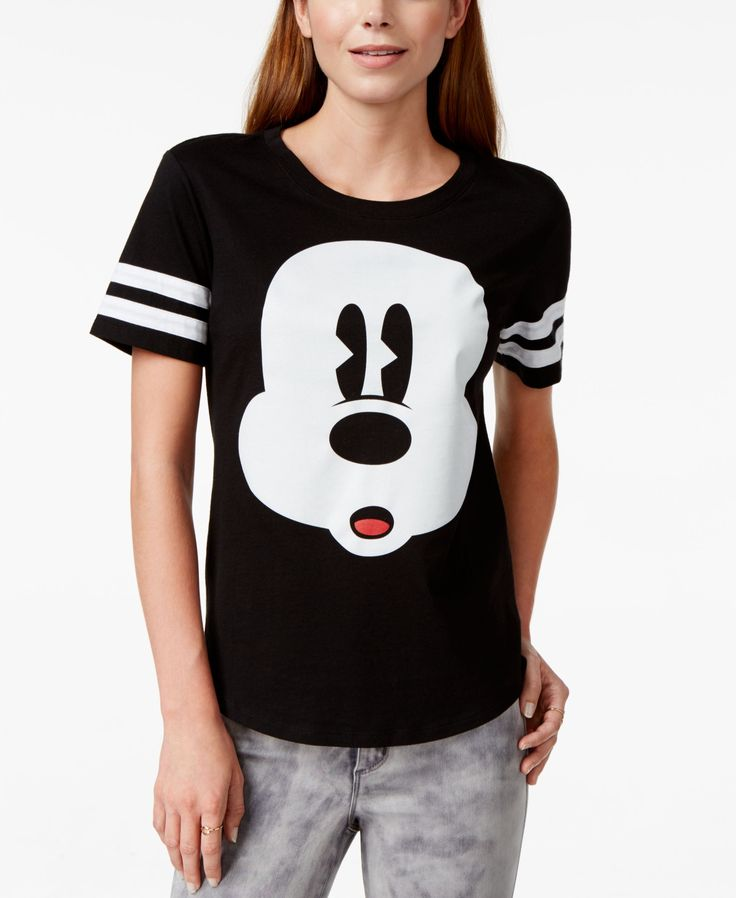 Hybrid Juniors' Disney Mickey Mouse Striped Graphic T-Shirt