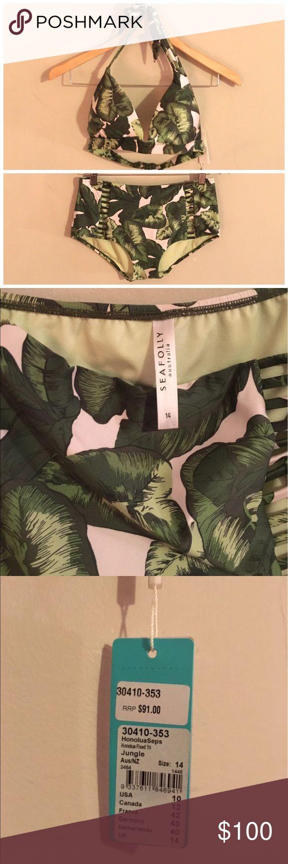 NWT Seafolly Honolula Bikini Brand new with tags Seafolly Honolulu tropical leaf print triangle bikini top and matching Cutout high waist bikini bottoms both size 14 Anthropologie Swim Bikinis