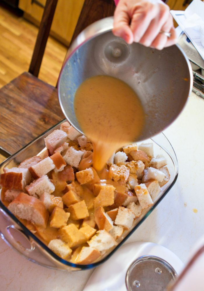 Make-ahead pumpkin french toast bake. (use all the frozen pumpkin I made this past fall!)