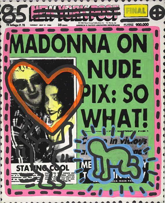 """Madonna by Andy Warhol and Keith Haring, 1985."""