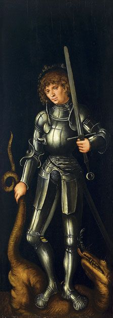 ca. 1514 Lucas Cranach , the Elder -   Saint George (exterior right wing) On the exterior wings Cranach depicted Saint Christopher and Saint George against a dark background.  Saint George wears his traditional knight's armour and stands on the dragon's back with his sword unsheathed, holding the beast by the tail. Cranach gave the saint a discreet halo that glows over his head.