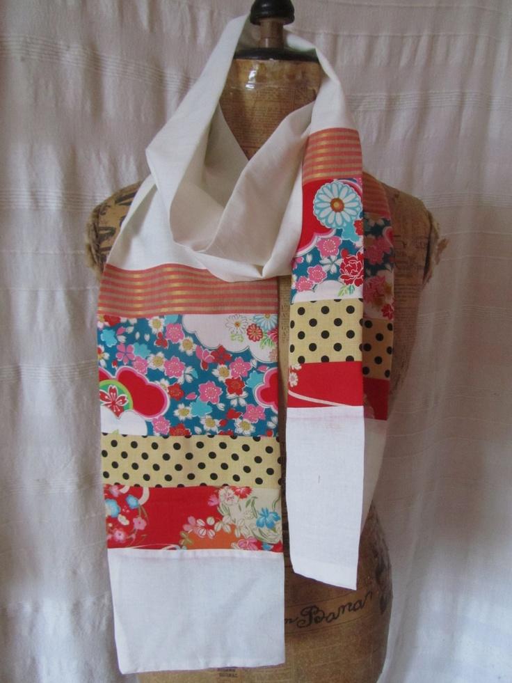 Foulard léger sari de coton beige et coton japonais