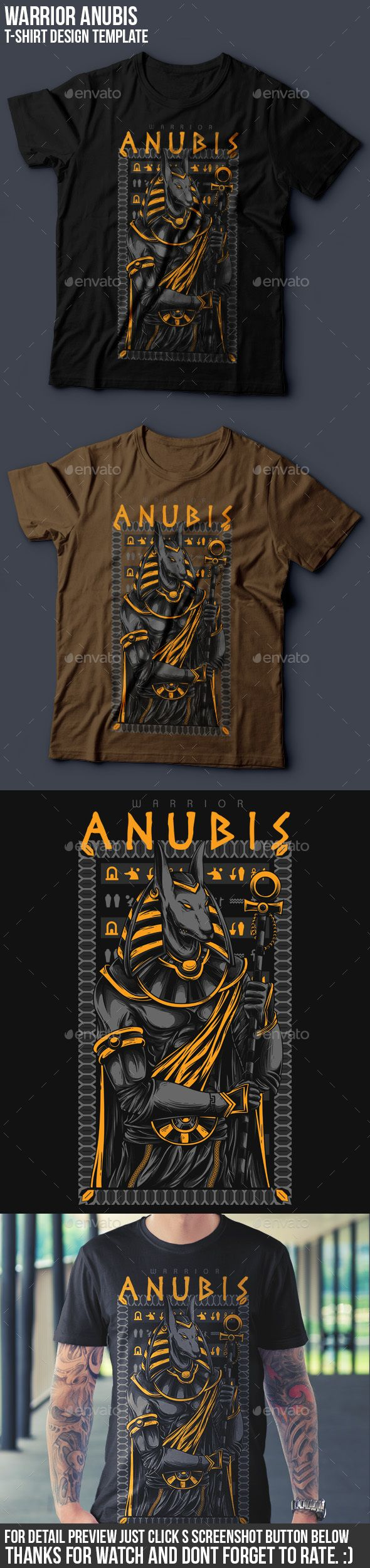 Anubis Warrior T-Shirt Design Vector EPS, Transparent PNG, AI Illustrator. Download here: https://graphicriver.net/item/anubis-warrior-tshirt-design/17240720?ref=ksioks