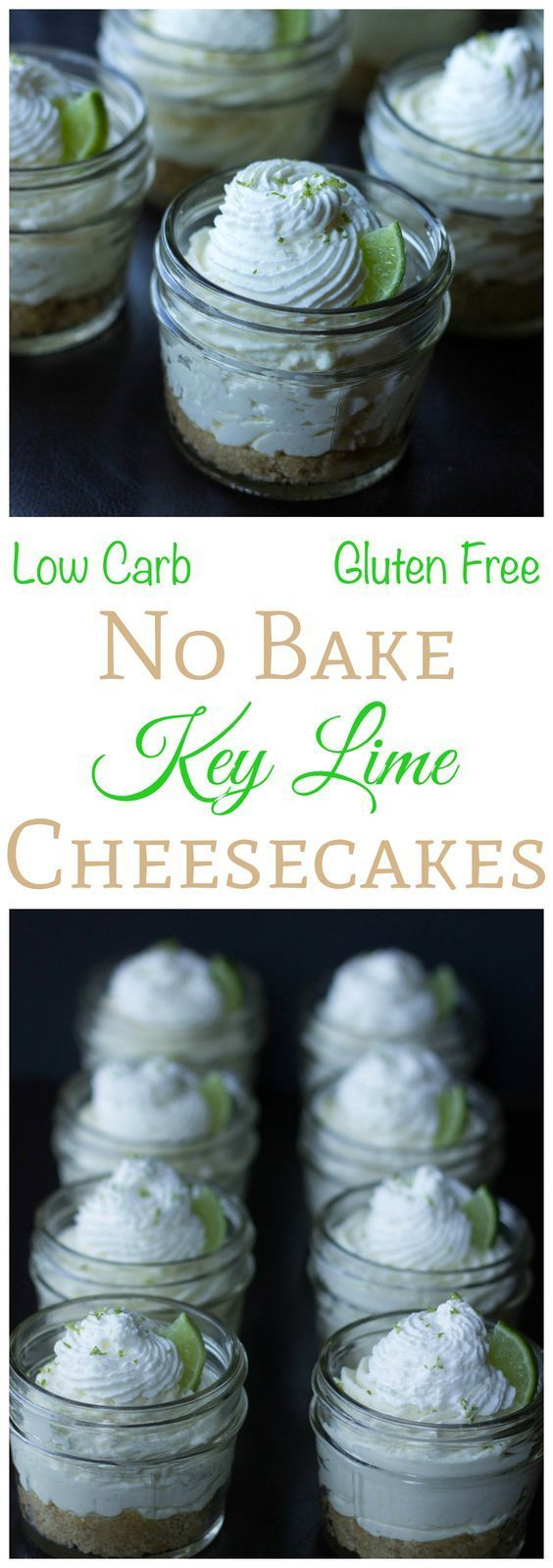 These 4 ounce low carb and gluten free no bake key lime cheesecake in a jar desserts are perfect for any summer party. They taste just like a key lime pie.