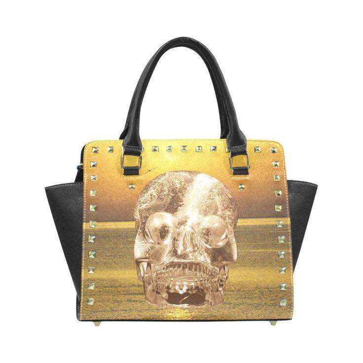 Crystal Skull Gold Rivet Shoulder Handbag (Model 1645)