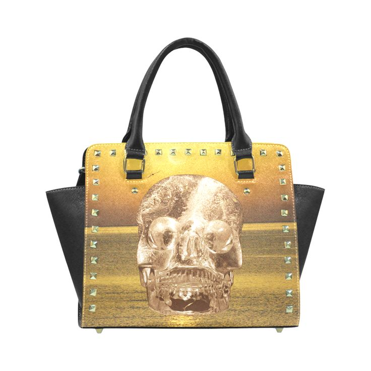 Crystal Skull Gold Rivet Shoulder Handbag (Model 1645)