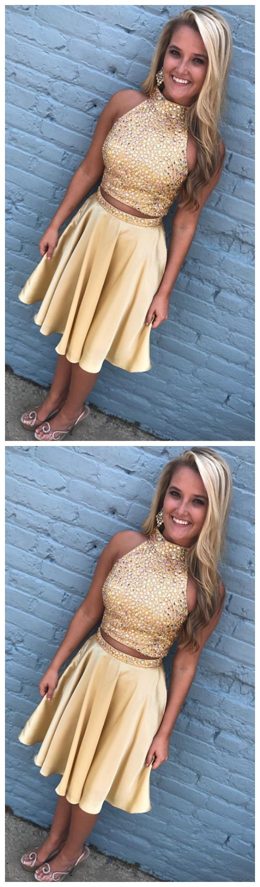 two piece homecoming dress,gold homecoming dress,short prom dresses