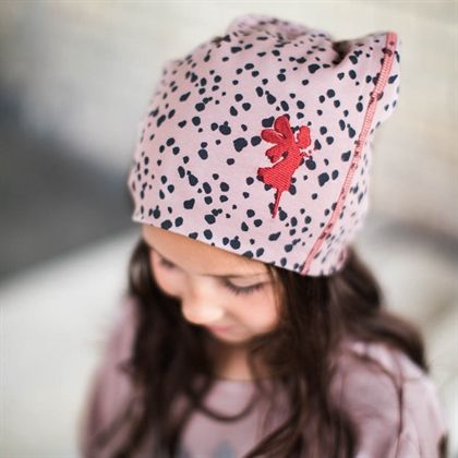 Cap fairy - tiger dots ash pink