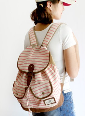 Red pink blue color Stripes Canvas Backpack by prettystore on Etsy, $308.00