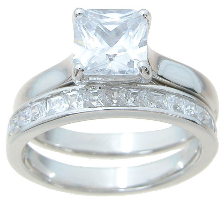 Princess Solitaire CZ Wedding Set That Looks Real