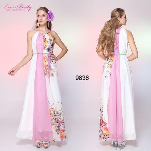 Вечерние платья 9836 Adjusatble холтер цветочные печать шифон розовый ремень формальное макси лонг 2015 бесплатная доставка