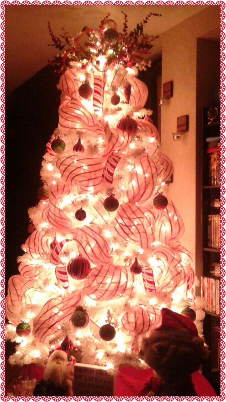 Peppermint like Christmas tree.. topper all dollarama store items.. makes your tree pop!
