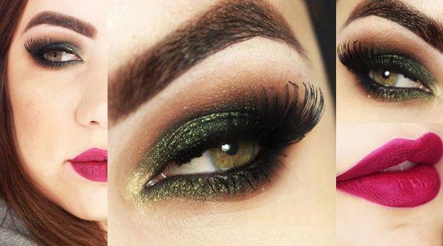 Maquiagem com sombra verde oliva e batom uva: combinação fica PERFEITA