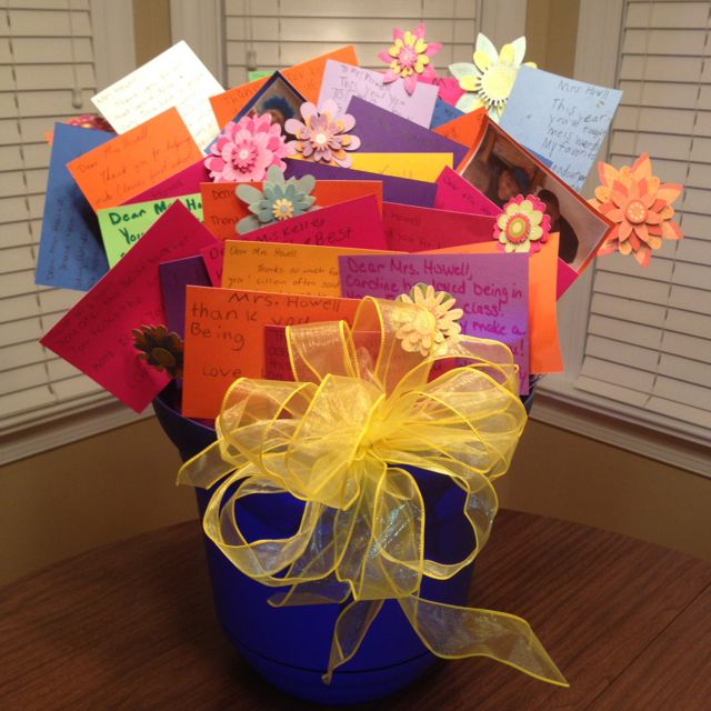 This is a neat idea! My class gave this to me for an end of the year present. Bouquet of cards with a target gist card in a pot. Our room mom's idea :) isn't it great? Love it!
