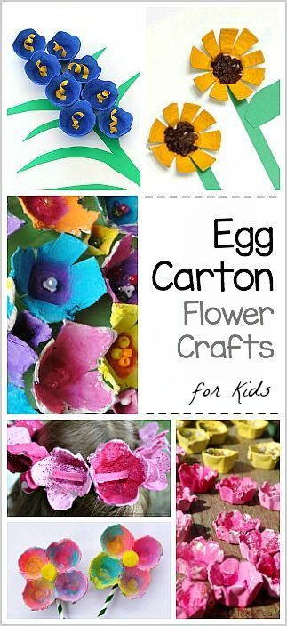 Egg Carton Flower Crafts for Kids: sunflowers, bluebells and more! - Perfect for spring or Mother's Day!