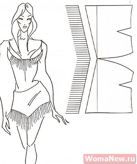 Короткая юбка. Можно использовать как кокетку для длинной юбки.