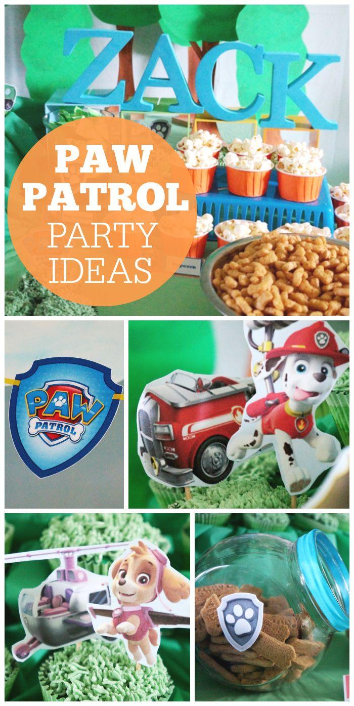 This dog themed blue, green and orange boy birthday party features the cute characters from Paw Patrol! See more party ideas at CatchMyParty.com!
