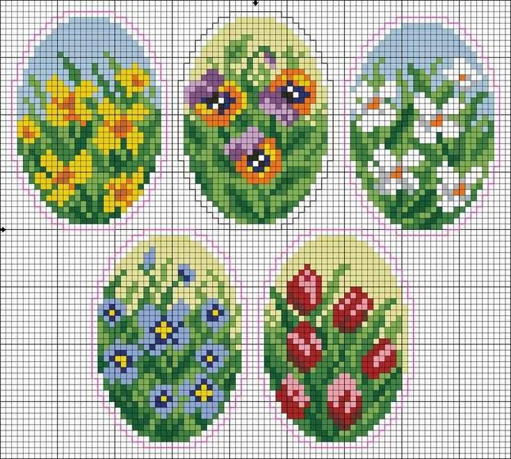 Πασχαλινές σταυροβελονιές / Easter cross stitch patterns