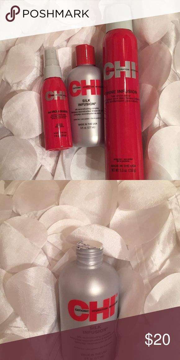 CHI silk infusion (6 fl. oz.), 44 iron guard (2 fl. oz.), and shine infusion (5.3 oz.). these products have never been used before. CHI Other