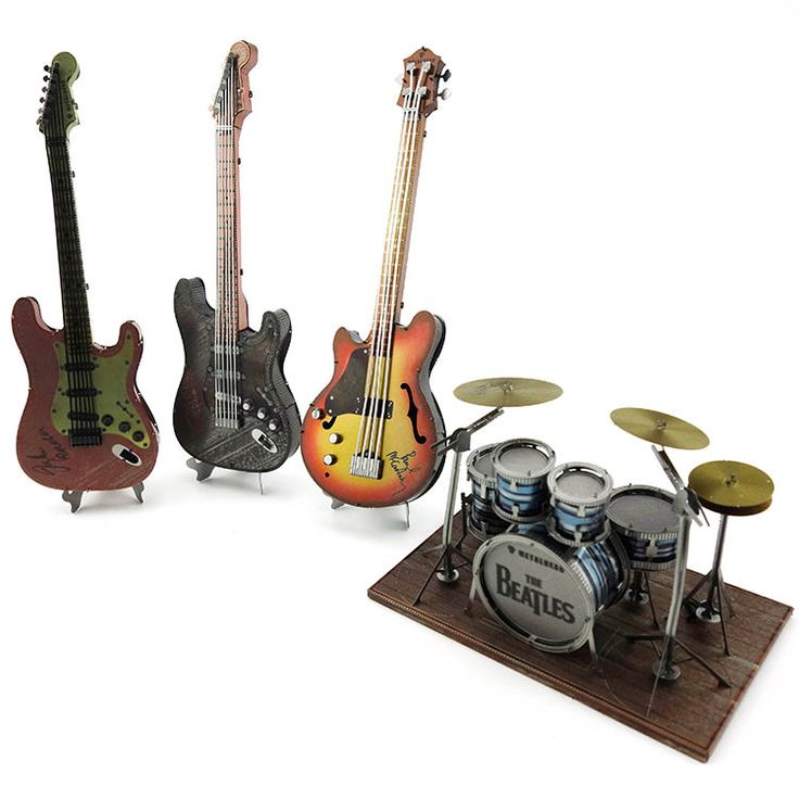 Metal Puzzles for children Adult Model Toys for Adult Jigsaw Bass Guitar Drum set Instrument metal educational toys guitarra