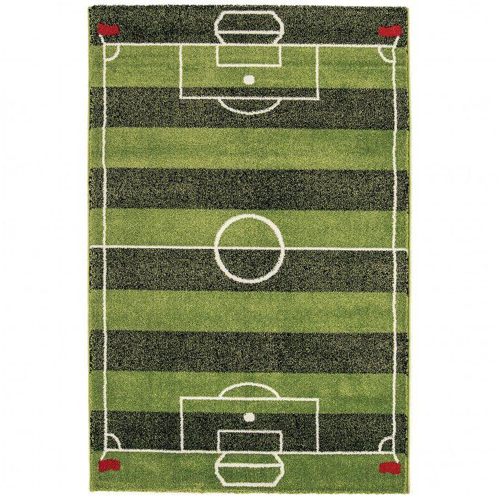 Kids Fun Interactive Green Football Pitch Bedroom Rug