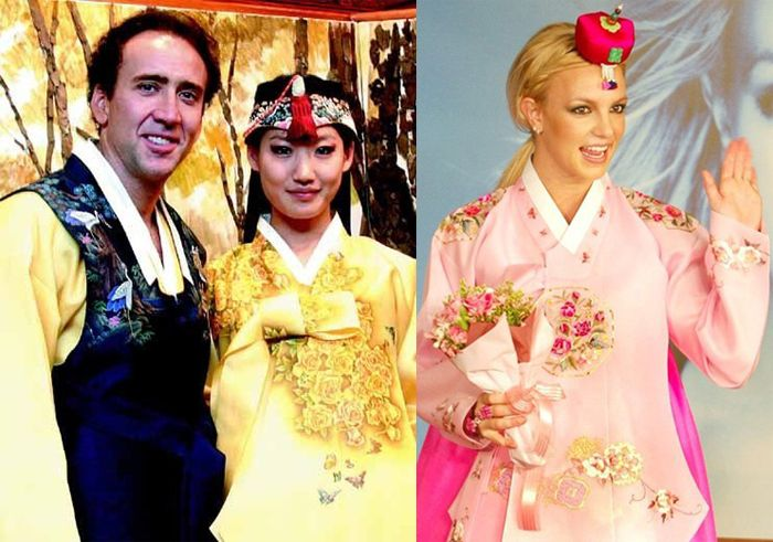 Foreign celebrities (left to right: Nicolas Cage, Alice Kim, Britney Spears) wear hanbok on visits to Korea.