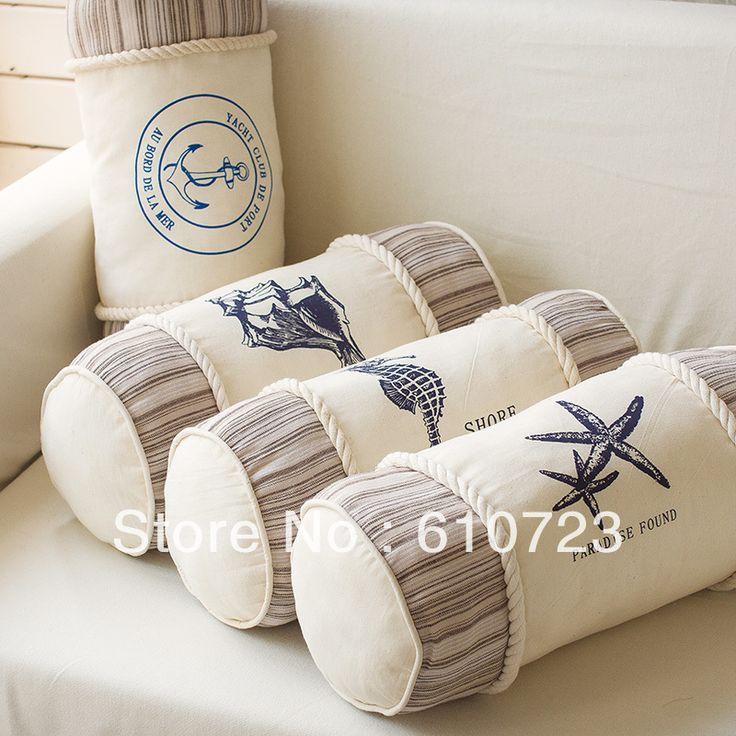 Barato Vendas quentes estilo mediterrâneo oceano espera almofada travesseiro para inclinar se sobre a cilíndrico tecido decorativo shell, Compro Qualidade Almofadas diretamente de fornecedores da China: