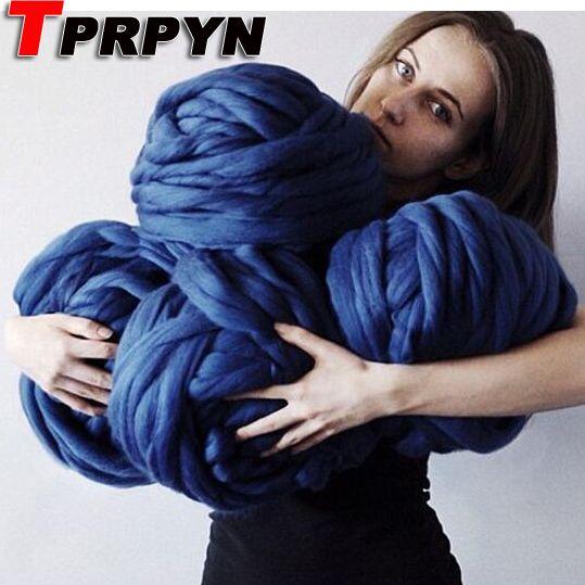 TPRPYN 1000g Mode Super Chunky Garen Zachte Merino Wol Roving Spinning voor Arm Breien Deken merinowol garen