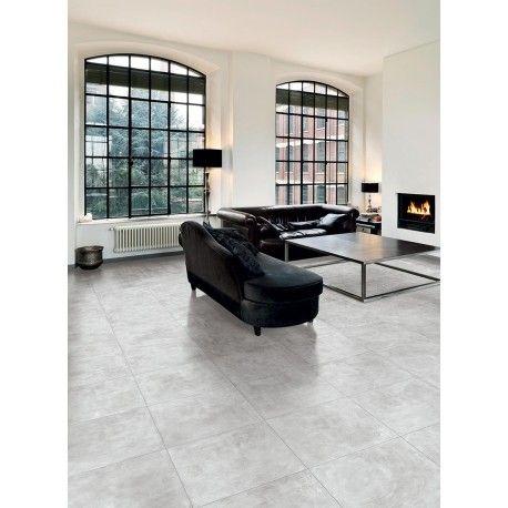 Carrelage gris clair effet beton