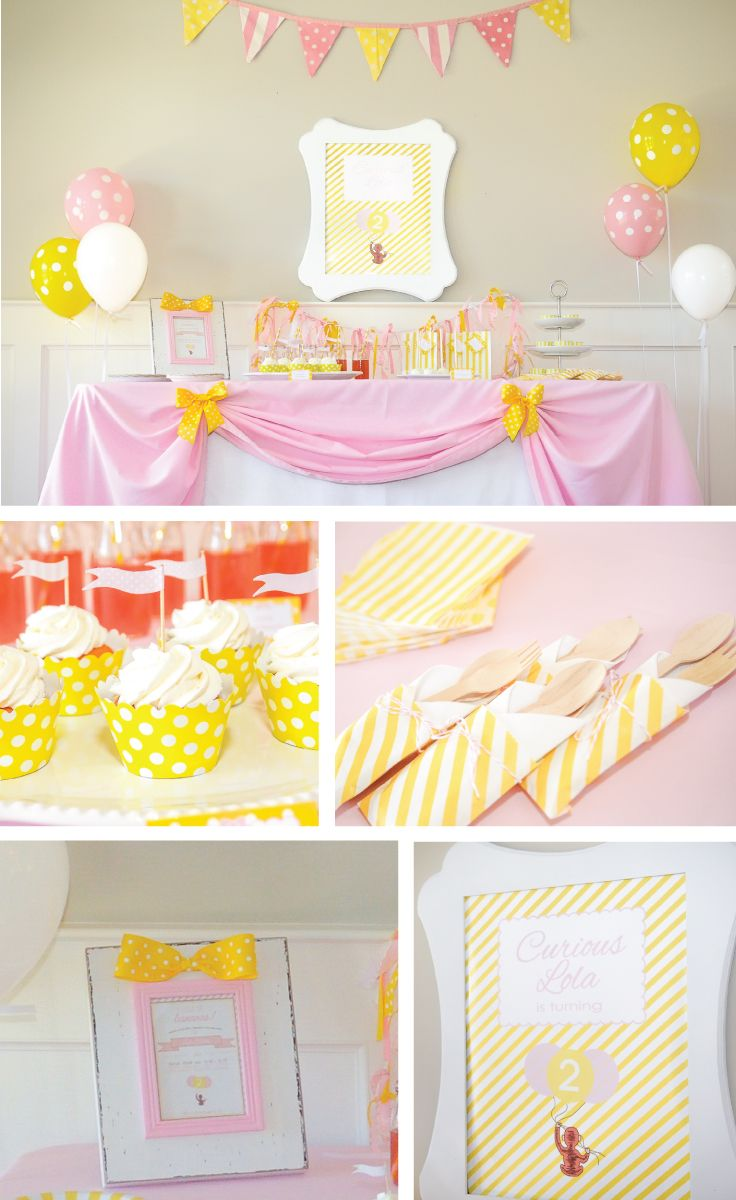 A pink and yellow, adorable Curious George inspired Birthday Party