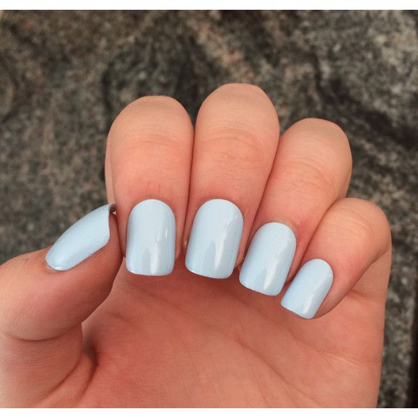 Blue nails, baby blue press on nails, set of nails ($10) ❤ liked on Polyvore featuring nails