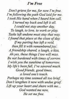 the poem we used for my dad's funeral                                                                                                                                                                                 More
