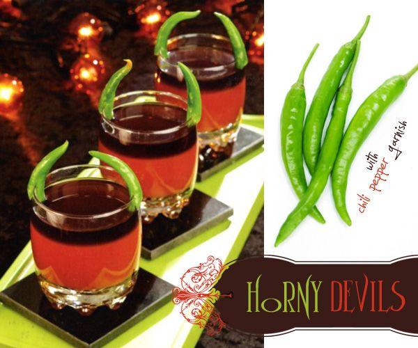 {Horny Devils} 1 (64-oz) bottle tomato-vegetable juice cocktail; 1/2 cup fresh lemon juice; 1/4 cup Worcestershire sauce; 2 Tbsp hot sauce; 2 tsp celery salt; 3 cups black vodka, divided; garnish: serrano chili peppers.: Horni Devil, Juice Cups, Halloween Cocktails, Worcestershire Sauces, Black Vodka, Chilis Peppers, Devil Cocktails, Halloween Ideas, Hot Sauces