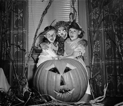 Halloween, 1958....love the drapes...