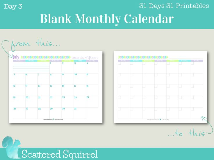 Day 3: This blank monthly calendar printable came at the request of one of my readers who was looking for an undated calendar with weeks starting on Monday