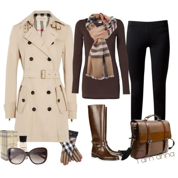 Brown top, black pants brown boots and oatmeal cardigan.