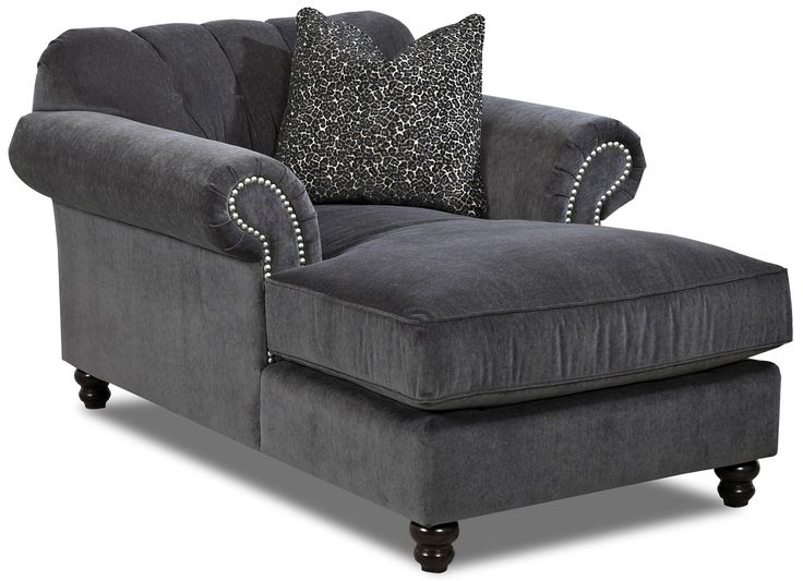 Klaussner Flynn Traditional Chaise With Button Tufted Back, Rolled Arms And  Throw Pillow   Suburban Furniture   Chaise