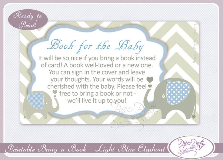 elephant bring a book insert baby shower invitation book instead light