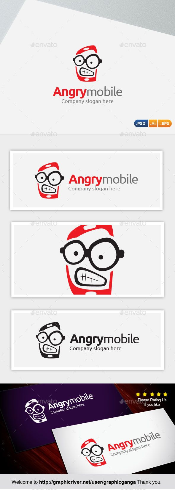 #Angry Mobile - Abstract #Logo Templates Download here:  https://graphicriver.net/item/angry-mobile/11524827?ref=alena994