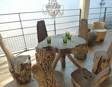 Tree stump table and chairs tree stump ideas pinterest - Tree trunk table and chairs ...