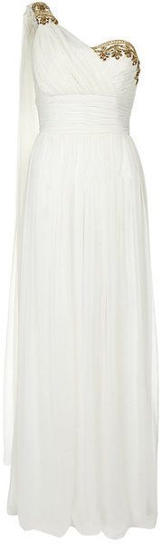 Notte By Marchesa White Embellished One Shoulder Gown
