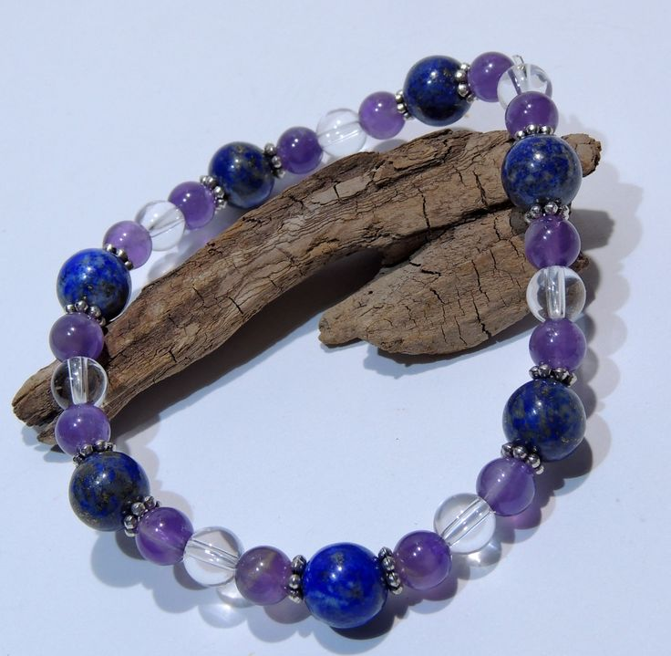 beaded bracelet LAPIS LAZULI amethyst & crystal,birthday gift,healing stones by Majlagalery on Etsy