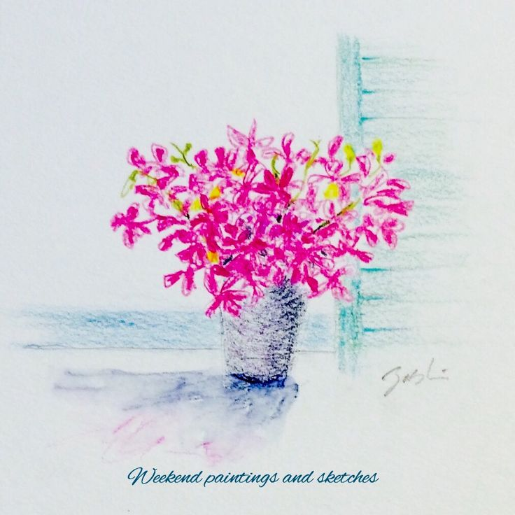 A balcony by the sea Flower Mokara Watercolours